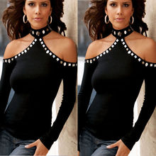 Fashion Woman Long Sleeve Beading Choker Collar High Neck Up TShirt Top