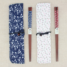 1 pair Portable Japanese Beech Wood Chopsticks Travel utensils Handmade Bento Partner Gift with Exquisite Pocket(China)