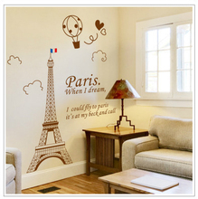 Paris When I Dream Living Room Decoration DIY Stickers PVC Eiffel Tower View Removable Stickers Bedroom Wallpaper Home Decoratio(China)