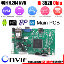 Mini NVR Board 1080P 4CH Security Network Recorder Board 4CH 1080P / 8CH 960P ONVIF Email Alert Motion Detection With HDD Cable(China)