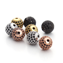 Wholesale DIY Jewelry Spacer Beads 6mm 8mm 10mm Black/Silver/Gold/Rose Gold Best Quality Micro Pave Black CZ Metal Round Beads(China)
