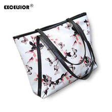 Famous Brand Women PU Leather Butterly Flower Printing Handbags Large Capacity Casual Tote Ladies Shoulder Bags Bolsos Mujer