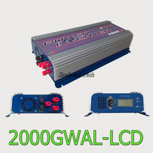 2000W grid tie inverter with dump load for 3phase AC wind turbine, LCD MPPT pure sine wave inverter wind power(China)