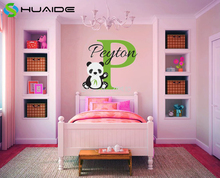 3d Ainimal Wall Stickers Chinese Panda Custom Baby Name Monogram Vinyl Wall Decal Nursery Room Decor Personalized Gift  SA580A