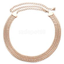 Women Gold Double W shaped Metal Waist Chain Belt Charms Waistband Diamante Beaded Clothing Belt