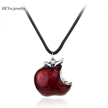 20pcs/lot Once Upon A Time Necklaces Snow White Regina Red Poison Apple Pendant Necklace Fashion Maxi Rope Chain Jewel(China)