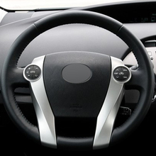 Black Leather Hand-stitched Car Steering Wheel Cover for Toyota Prius 2009-2015 Aqua