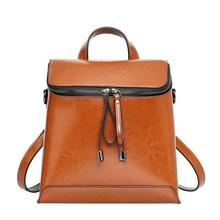 Genuine Leather Backpack for Women Multi Function Design Ladies Cross body Bag Female Shoulder Bag Real Cowhide small backpack(China)