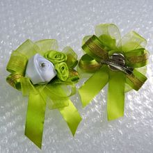 10pcs Fabric Prom Artificial Rose Bride Boutonniere Crystal Corsage Wrist Flower Bracelet Wedding Church Decor Green White  FL1