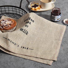 Japanese Style Zakka Simple Linen Cotton Table Napkins Tea Towel English Letters Dishcloth Home Kitchen Napkin Mat