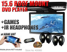 "15.6"" HD 1080p Car Roof Mount DVD Player Flip Down Monitor Screen with HDMI port LED light Van Bus 24V 12V+2 IR headphones"