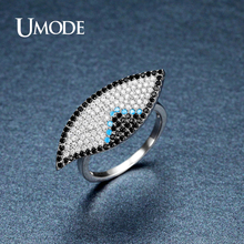 UMODE Vintage Unusual Black Blue CZ Stone Eye Rings for Women White Gold Color Party Jewelry Accesorios Aneis Feminino UR0393