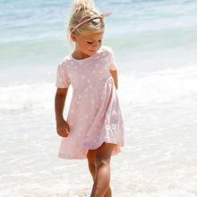 Hot Sale 2017 New Toddler Kids Baby Dress Girls Pink Heart Print Summer Party Brief Dress Clothes Roupas Infantis Menina(China)