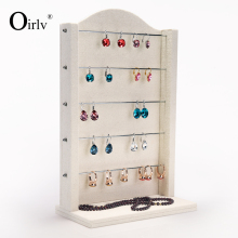 Oirlv Free Shipping Function Tall Earrings Ring Exhibitor Shelf Stand Linen Velvet Jewelry Shop Display Board Free Metal Holder