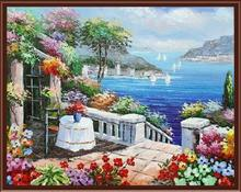 Frameless Mediterranean Sea pictures painting by numbers hand painted canvas cartoon drawing diy oil painting by numbers