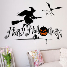 Halloween Wall Stickers Decorative Witch Pumpkin stickers Wallpaper For Room Wall Decorating Tools Halloween Party Supplies(China)