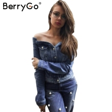 BerryGo Off shoulder denim jacket coat Women sexy autumn slash neck jeans outerwear coat 2017 Female casual winter basic jackets(China)