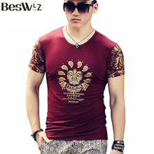 Buy Beswlz Summer Men T-Shirts Short Sleeve O Neck Casual Floral Printed Pattern Men T Shirts Cotton Slim Men Tops Tees 6520 for $14.99 in AliExpress store