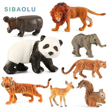Zoo Plastic mini Panda Deer Tiger Leopard Hippo Lion Elephant Cow Bear Simulation wild Forest animals model Figurine figures toy(China)