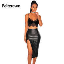 Feiterawn 2017 New Arrival Summer Women Sexy Clubwear Top Fashion Off Shoulder Black Lace Trim Velvet Bralette Crop Top DL250012