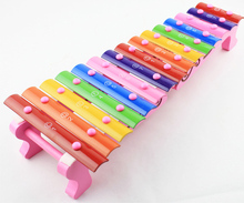 Children fifteen sound knock piano toy wooden puzzle 1-3 years old baby 15 tone aluminum knock musical toy xylophone