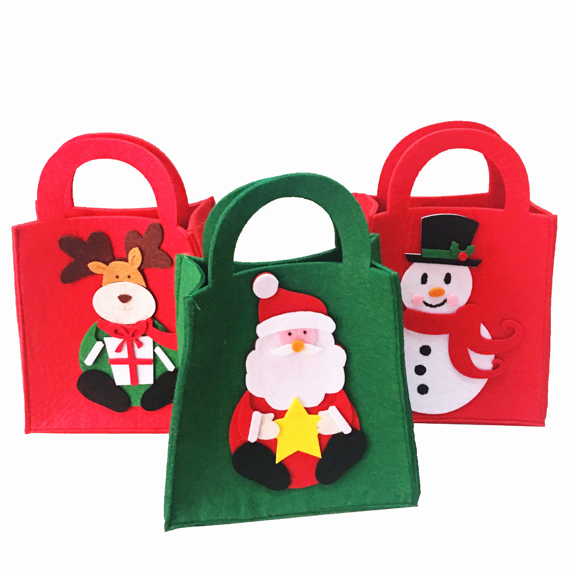 1pc Christmas Candy Bag Santa Claus Snowman Elk Hand Bags XMAS Decor Holiday Gift Bags Wholesale New Year