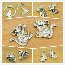 squirrel/mouse/rat/hedgehog alloy pendant animal shape charm antique silver DIY jewerly accessories making finding free shipping