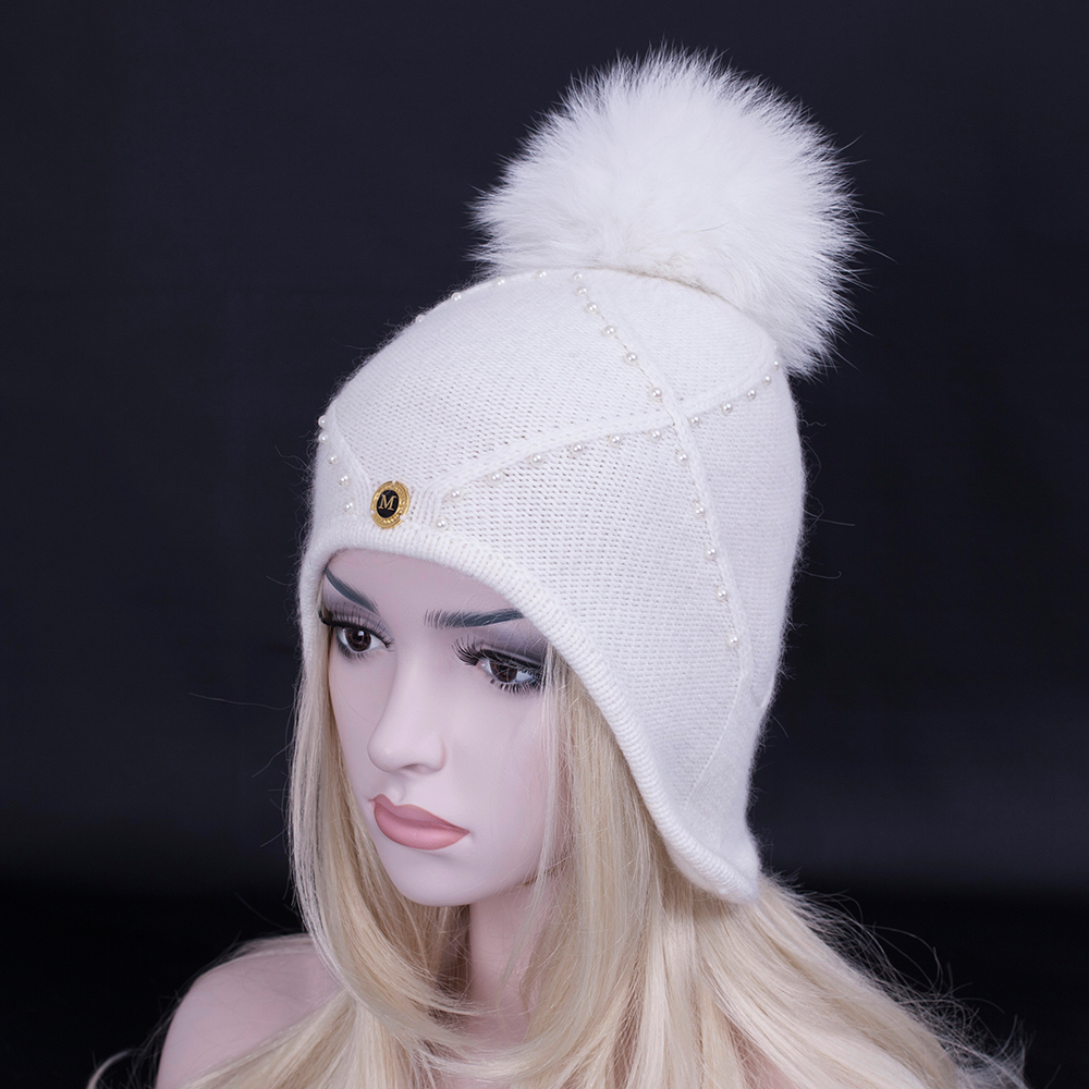 2017 Winter Christmas New product Winter Wool hat with real fox fur pompoms women snow hat high quality Skullies Beanies capsОдежда и ак�е��уары<br><br><br>Aliexpress