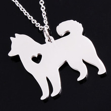 Gold/Silver Plated Pet lovers Personalized Memorial Gift Siberian Alaskan Malamute Akita Custom Dog Necklace Husky Jewelry Colar(China)