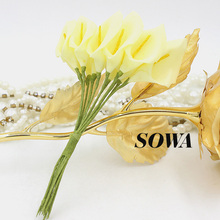 Free Shipping 2.5cm Head 72pcs/lot PE Foam Light Yellow Color Handmade Calla Lily Flower Wedding Bouquet Artificial Decoration(China)