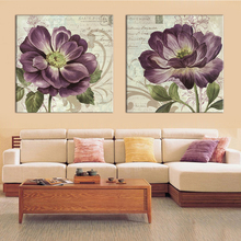 2 Panel Modern Flower Abstract Print Frameless Canvas Art Oil Painting Home Decoration Modular Picture for Living Room Wall