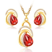 ARUEL jewelry sets Red/Blue Austrian crystal women gold Color African wedding bridal necklace earrings fashion wholesale bijoux