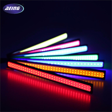 AEING 1 piece 17cm Car Styling Sticker Waterproof White COB LED DRL Daytime Running Light 12V Fog Driving Lamp Ice Blue Amber(China)