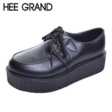 HEE GRAND 2017 Women Platform Flats Lace-up Artificial Leather Shoes Woman Spring Flat Creepers White Black Size 35-39 XWD367