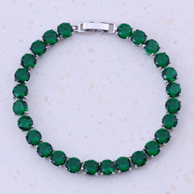 Magnificent Green Created Emerald Silver Plated Color Women Fashion Charm Bracelets Party Trendy Jewelry Free Gift Box D0050
