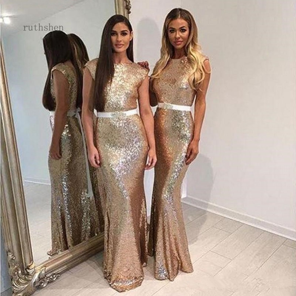 prom dresses 2019 champagne vestido de gala sexy bare back o-neck prom dress sequin mermaid party dress with belt