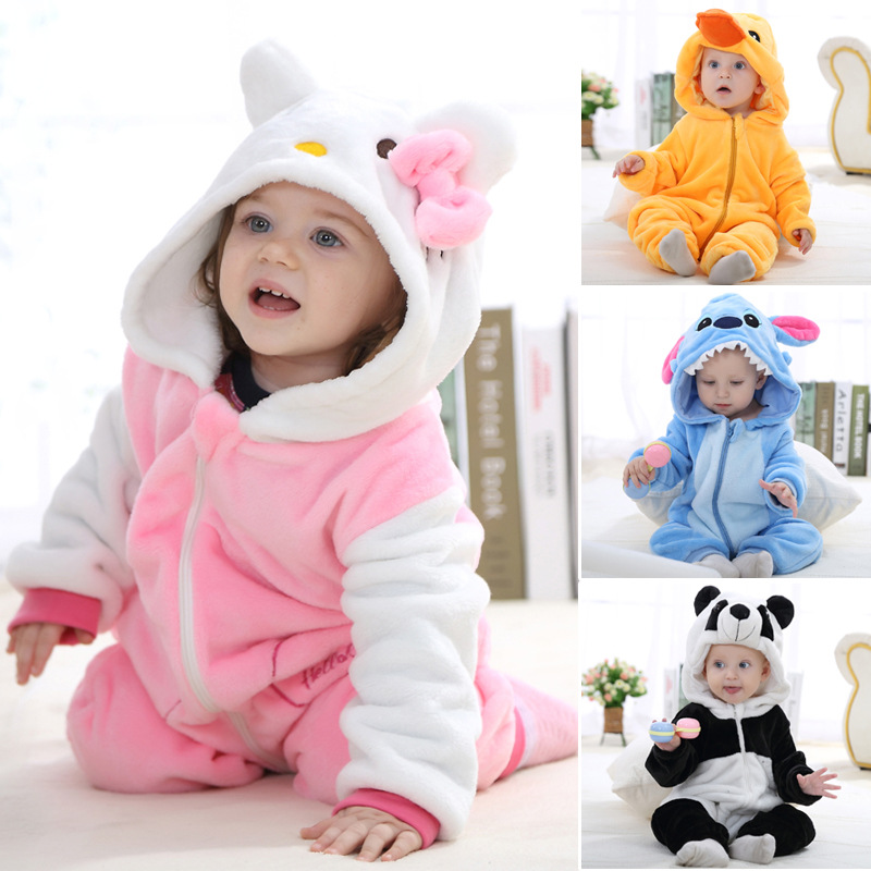 Cute Warm Newborn Baby Rompers Winter Flannel Stitch Panda Hooded Baby Clothes Jumpsuit Costume Baby Girl Costume Animal Rompers<br><br>Aliexpress