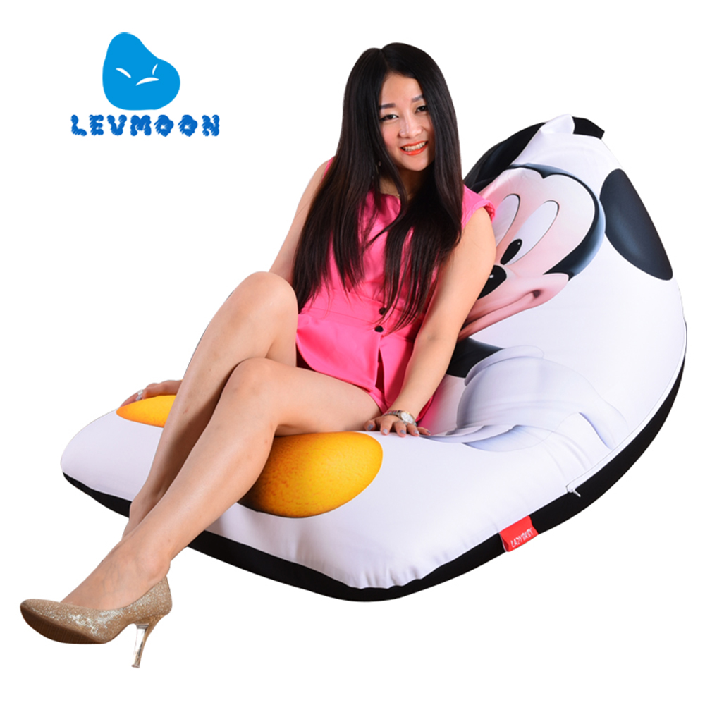 LEVMOON Beanbag Sofa Chair Mouse Print Seat zac Comfort Bean Bag Bed Cover Without Filler Cotton Indoor Beanbag Lounge Chair<br>