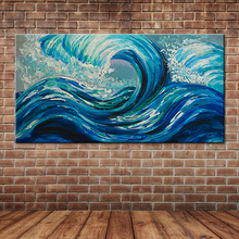 Hand Painted Blue Ocean Waves Oil Painting Large Seascape View Canvas Art for Home Decals (No frame )