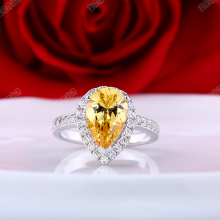 3CT Pear Cut Yellow Diamond Engagement Ring Solid White Gold 585 Ring for Lady Inscribe on the Memory Wedding Jewelry