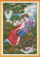 The Lovers on a Swing Portrait Needlework,DMC Cross stitch,Sets Embroidery kits,Printed Patterns Cross-Stitching,DIY Handmade(China)