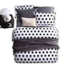 Modern Black White Geometric Bedding Set Star Striped Block Leopard Pattern Cotton Duvet Cover Bed Set Queen King Size Bedspread