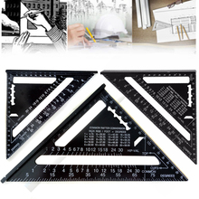 7inch Metric System Triangle Ruler Aluminum Alloy Speed Square Roofing Triangle Ruler Black for Woodworking Measuring Ruler(China)