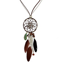 Boho Retro Dream Catcher Feather alloy Pendant Necklace Handmade leaf Leather Chain Vintage Ethnic Indian Sweater long Necklace