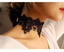 Black Lace Choker Necklace Women chockers Boho flower Gothic Chokers 2016 vintage necklace Fashion jewelry