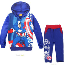 cute causal kids hoodie and pants set  plus velvet Captain America clothes set for 2-6yrs children boys girls outerwear set hot