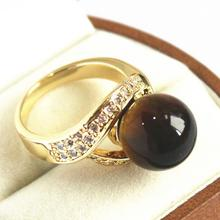 cute lady's 18KGP with crystal decorated &12mm brown jades  ring(#7 8 9 10)