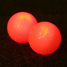 4Pcs/Lot Red Light-up Flashing Night LED Light Golf Balls Glowing Constant Shining Two Layer Training Ball White Green Pink Blue