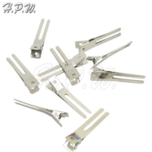 H.P.W. 30pcs 45mm Double Prong Alligator Grip Clips Metal Hairpins Without Teeth For Hair Extensions DIY Accessories