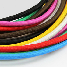 5M 2 Cord Colorful Vintage Retro woven wire Twist Braided Fabric Light Cloth Cable Electric Wire Chandelier Pendant Lamp Wires